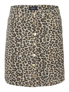Pieces Rok PCSKY HW BUTTON SKIRT-JJ 17097263 Peyote/LEOPARD