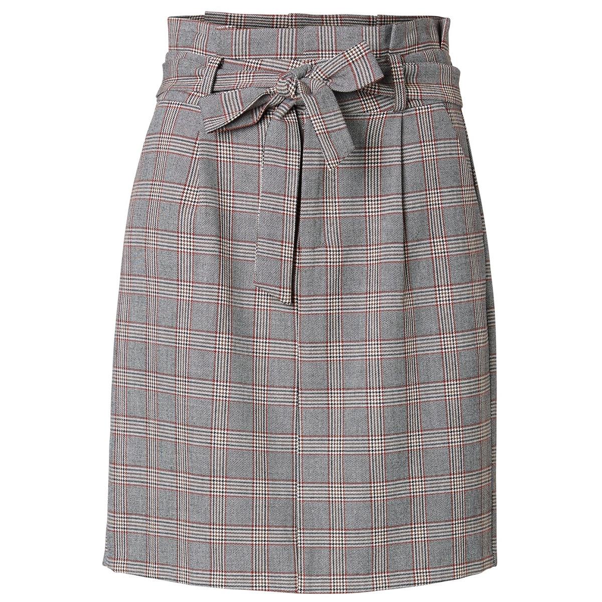 vmeva hr paperbag short check skrt 10221471 vero moda rok grey/brown/rust