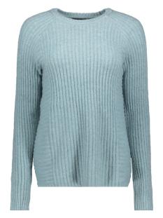 objnonsia rib l/s knit pullover sea 23027812 object trui stone blue