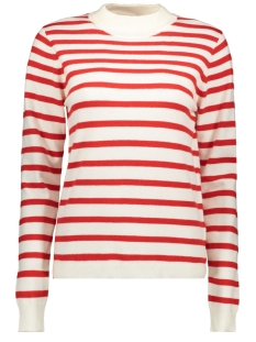 Object Trui OBJTHESS L/S KNIT PULLOVER SEASONAL 23030218 Gardenia/HIGH RISK RED