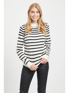 objthess l/s knit pullover noos 23030144 object trui gardenia/black