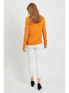 viril l/s o-neck knit top-noos 14054177 vila trui golden oak/melange