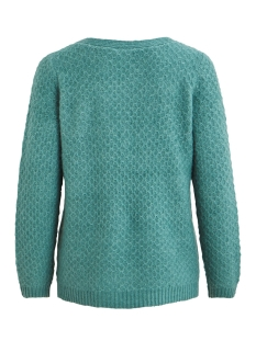 viinfi v-neck knit top 14053366 vila trui oil blue/melange