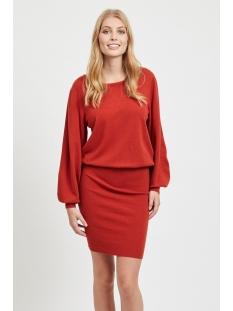 vivisti knit boatneck l/s dress 14053244 vila jurk ketchup