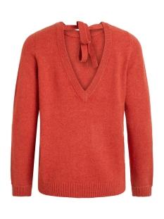 viril l/s open back knit top-noos 14048473 vila trui ketchup/melange