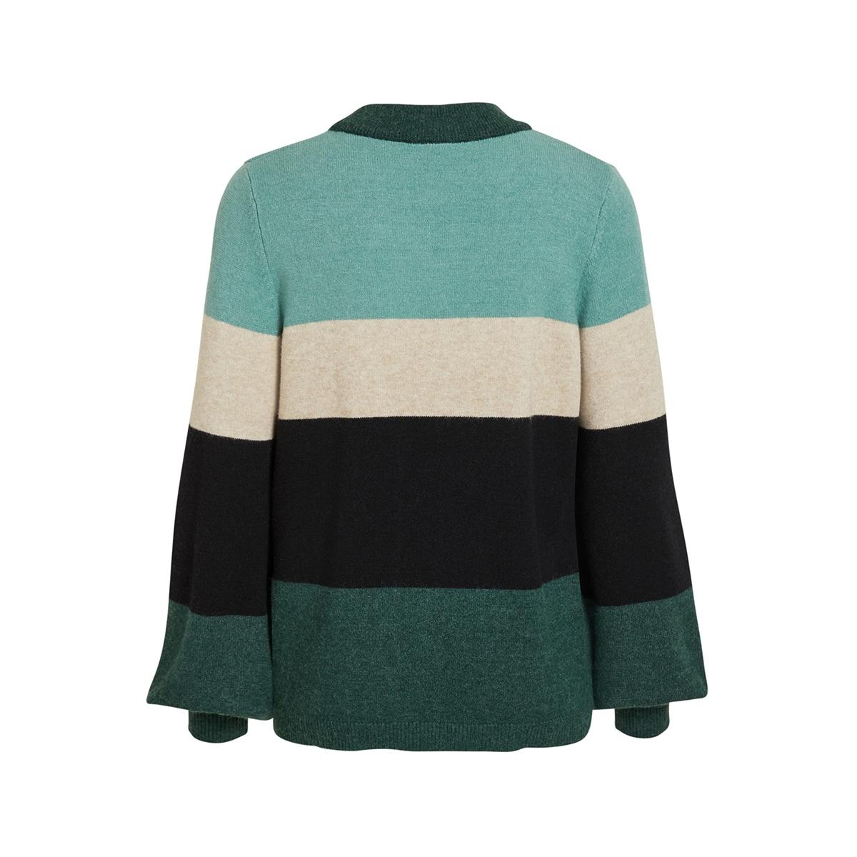 viril l/s balloon block knit top-fa 14055690 vila trui pine grove/combo pine