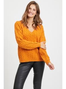 videpart knit l/s v neck top/su 14053744 vila trui golden oak