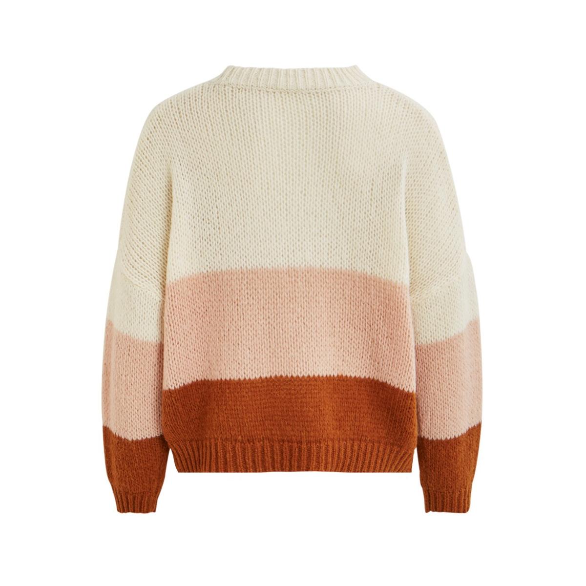 violet l/s knit top 14055307 vila trui cloud dancer/caramel café