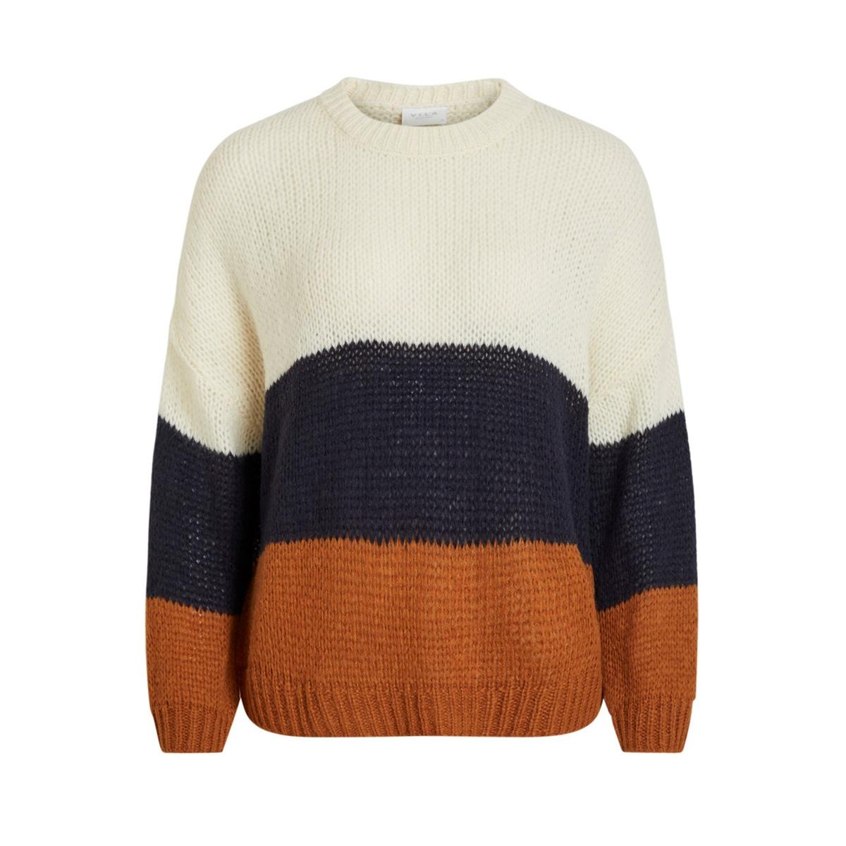 violet l/s knit top 14055307 vila trui cloud dancer/navy blazer