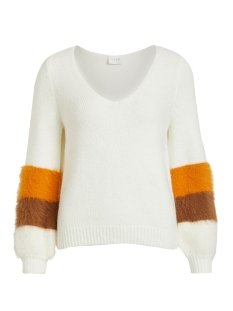 Vila Trui VISAMAR KNIT V-NECK L/S TOP 14053242 Whisper White/GOLDEN OAK