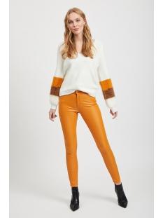 visamar knit v-neck l/s top 14053242 vila trui whisper white/golden oak