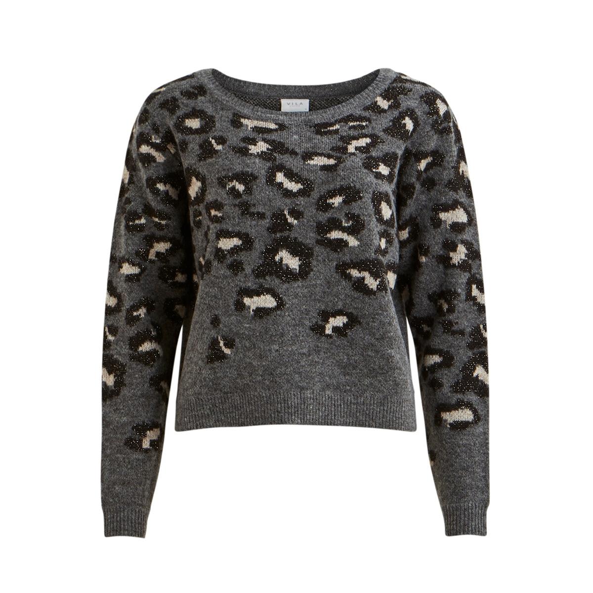 vilidi knit o-neck l/s top ki 14053193 vila trui medium grey mel/black w.l
