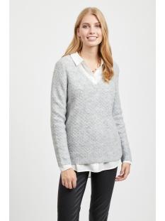 viinfi v-neck knit top 14053366 vila trui light grey melange