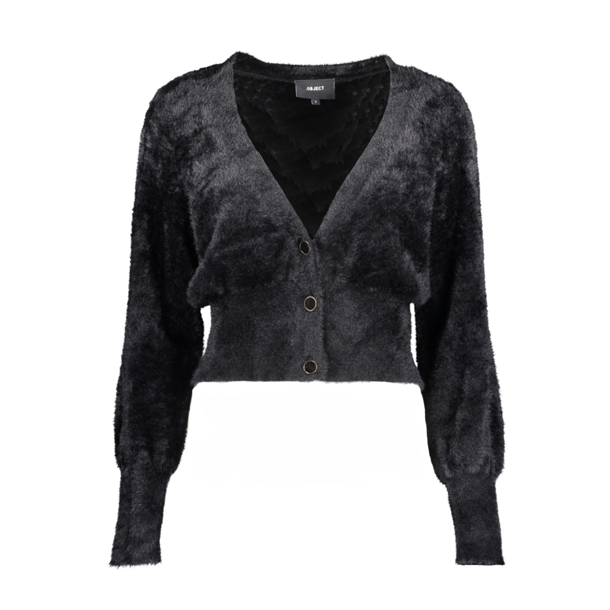 objcasra l/s knit short cardigan 10 23031111 object vest black
