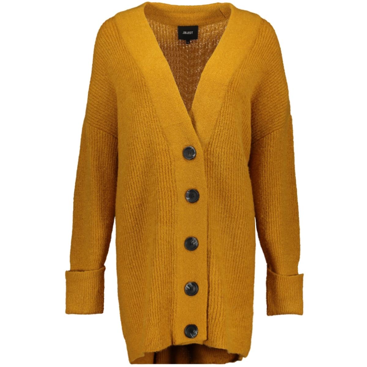 objtianna l/s knit  cardigan a div 23030963 object vest buckthorn brown