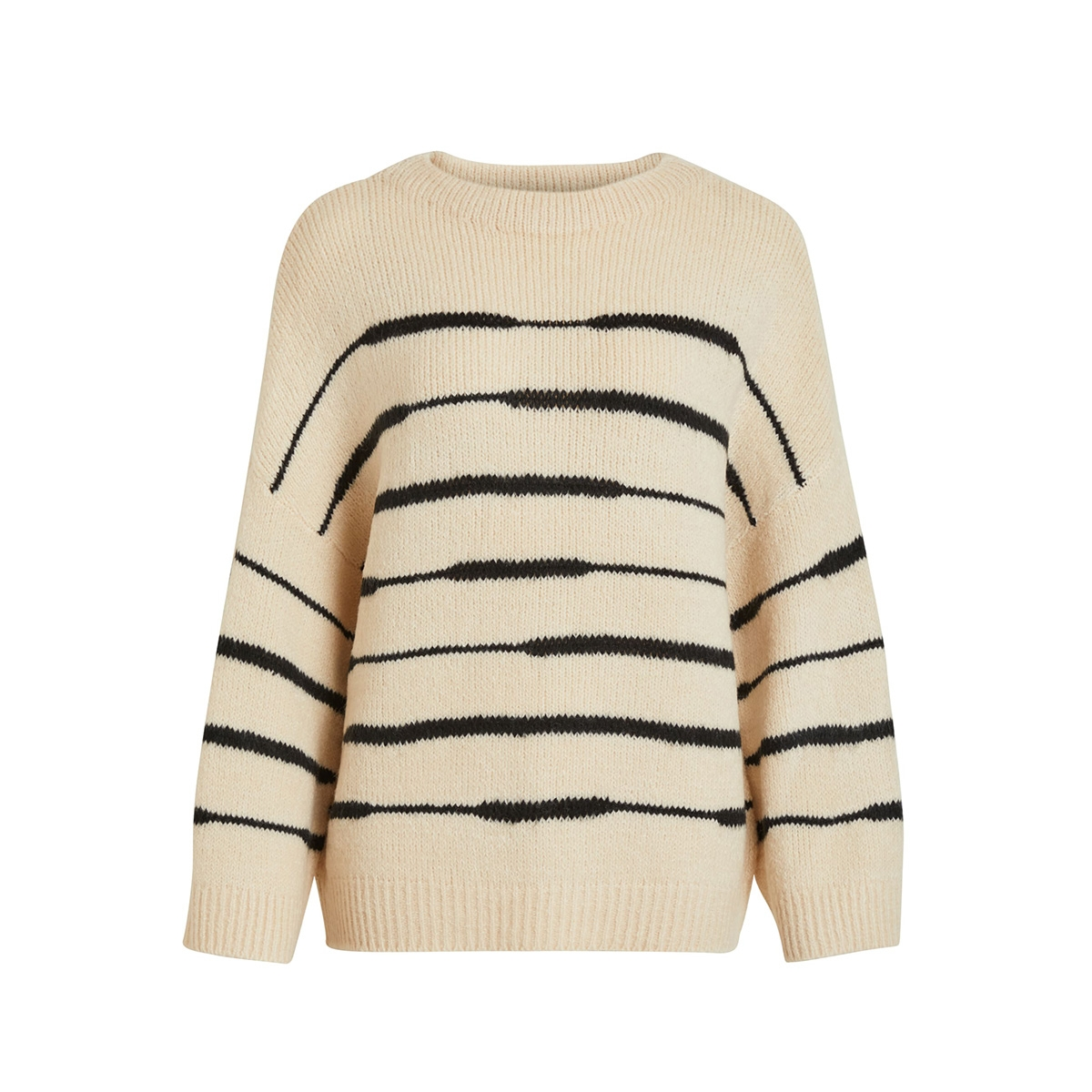 viziggo knit l/s funnel neck top/de 14054767 vila trui sandshell/ w. black s