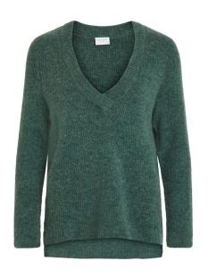 viesha knit new v-neck l/s top 14053648 vila trui oil blue/pine grove