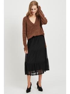 viesha knit new v-neck l/s top 14053648 vila trui golden oak/w. toffee