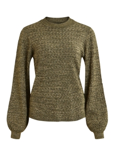 objlizzy l/s highneck knit pullover 23030743 object trui forest night/gold lurex