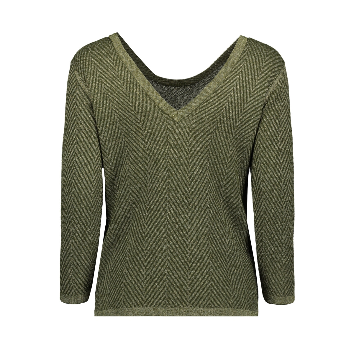 objlizzy 3/4 knit pullover 106 23030741 object trui forest night/gold