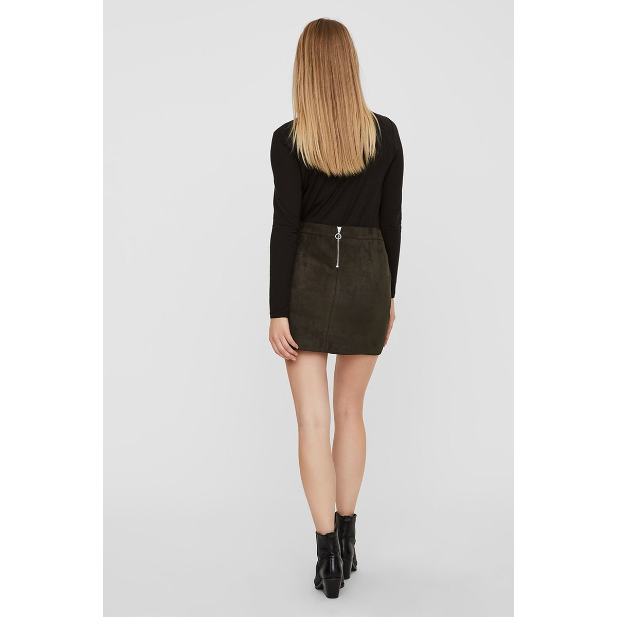 vmdonnadina faux suede short skirt 10210432 vero moda rok peat
