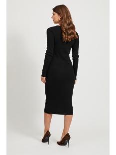 vibolonia knit l/s midi rib dress / 14057382 vila jurk black