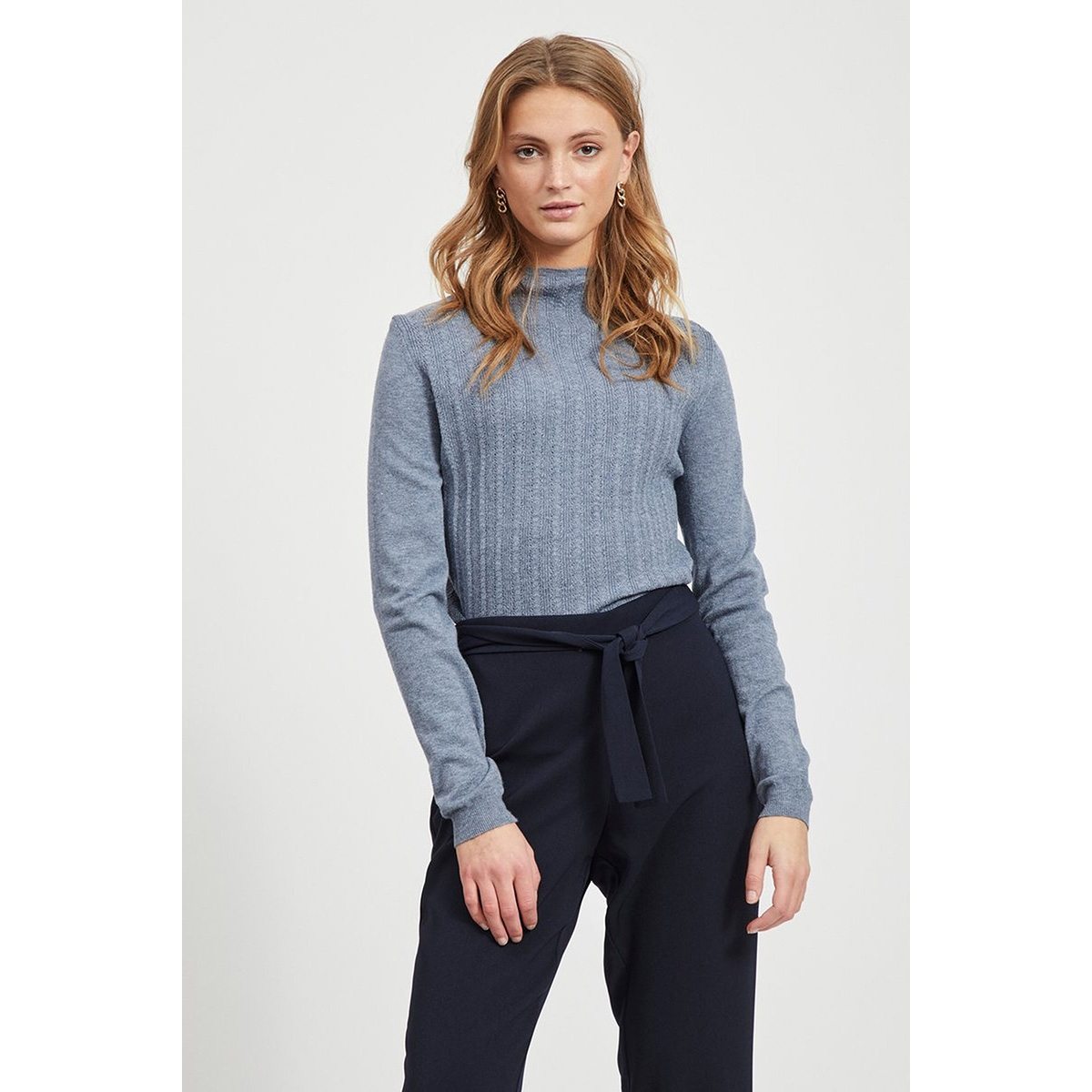 viandena knit funnel neck l/s top 14055426 vila trui china blue