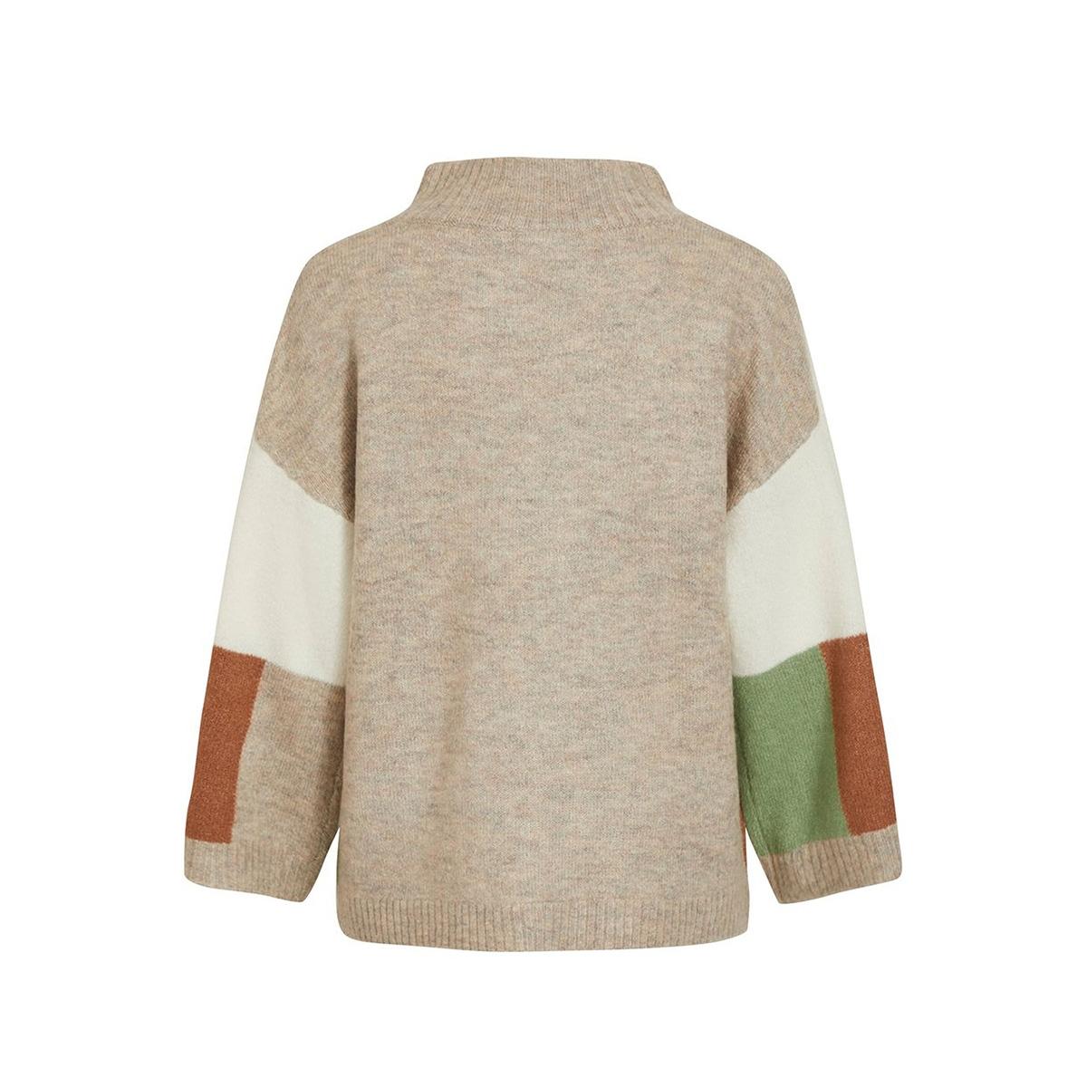 viblock knit 7/8 sleeve funnelneck 14055533 vila trui loden frost