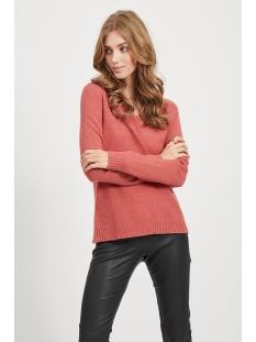 viril l/s v-neck knit top-noos 14042769 vila trui dusty cedar