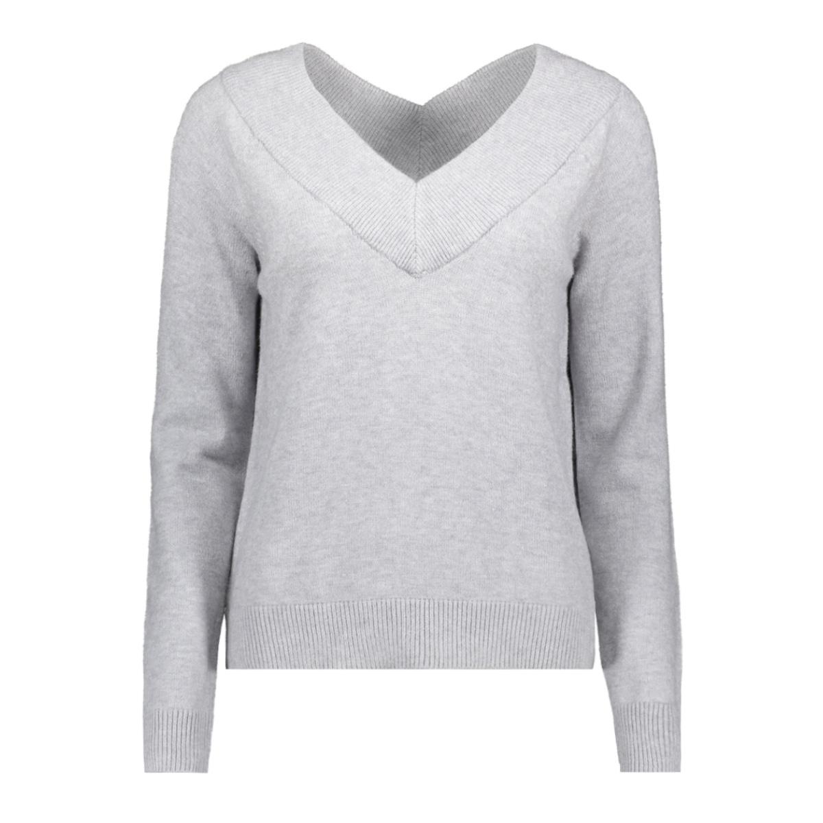 viril l/s db v-neck knit top-fav nx 14055392 vila trui light grey melange