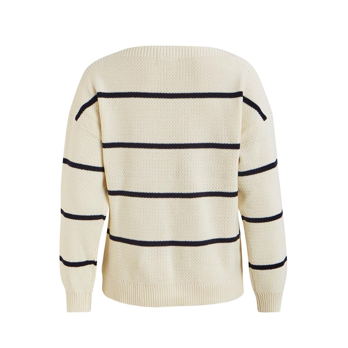 visunset knit ls top/ki 14055452 vila trui white alyssum/w. navy blazer