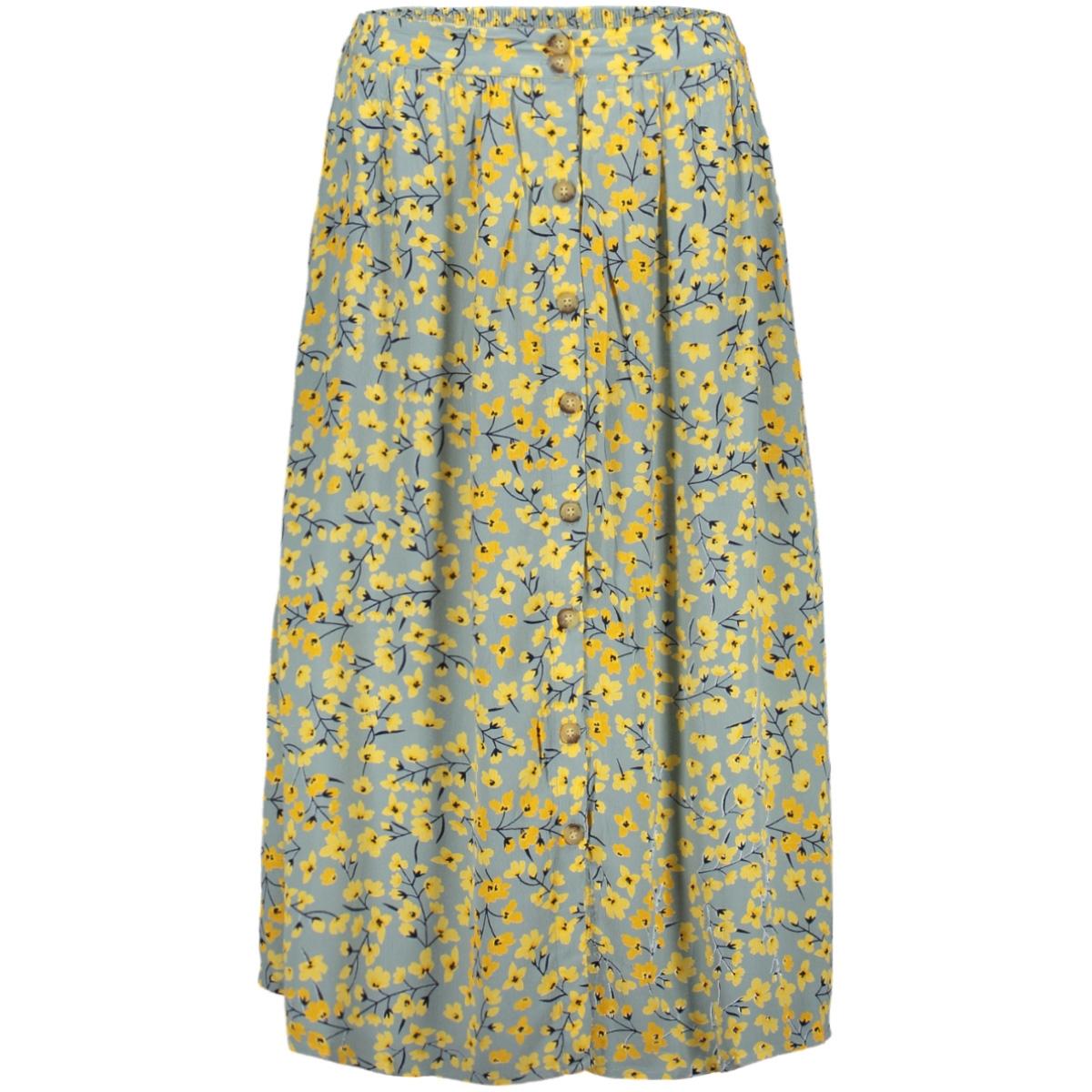 pccoya hw midi skirt 17097422 pieces rok slate/yellow flowers