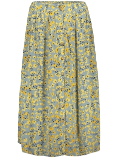 Pieces Rok PCCOYA HW MIDI SKIRT 17097422 Slate/YELLOW FLOWERS