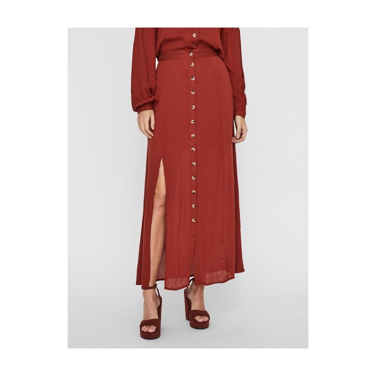 nmfleur hw slit long skirt 27011024 noisy may rok burnt henna