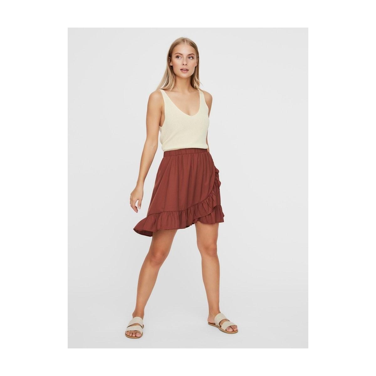 vmodette hw short wrap skirt ga 10230448 vero moda rok sable