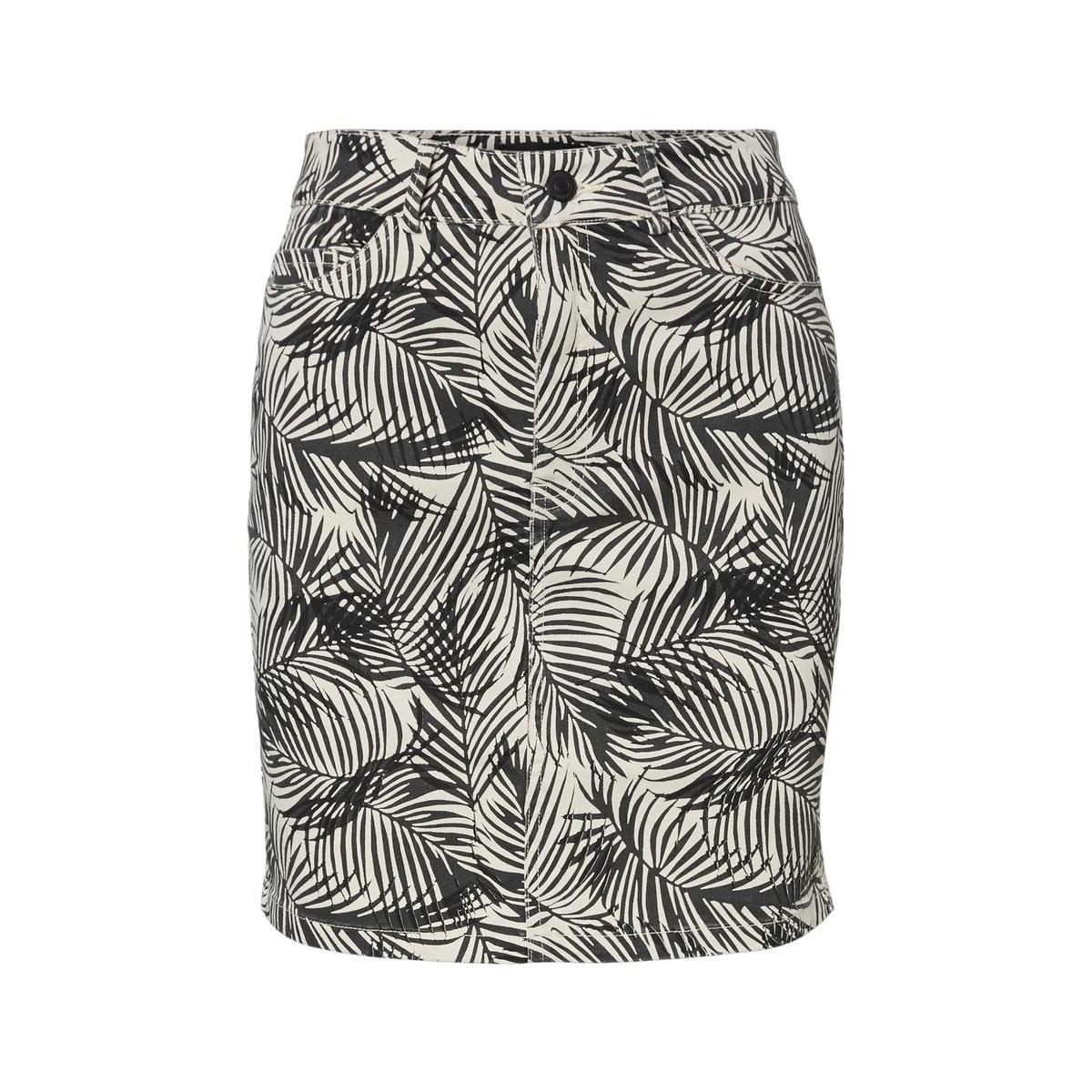 vmleonora mr palm short denim skirt 10231244 vero moda rok birch/phantom/black