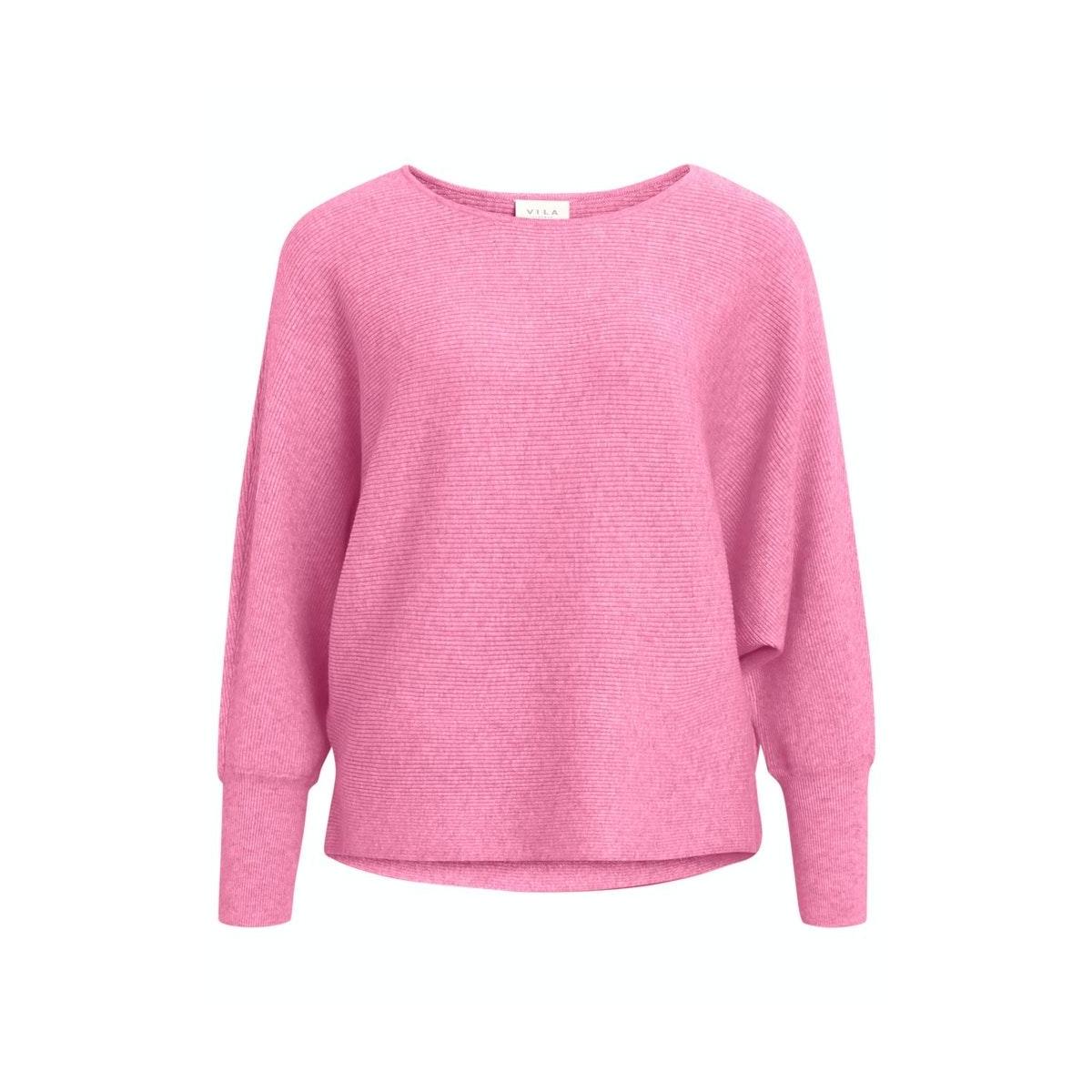 vielasta l/s knit top/2 14060395 vila trui begonia pink/melange
