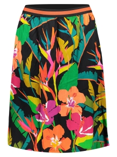 Geisha Rok SKIRT MULTI FLOWERS AND ELASTIC WAIST 06117 20 BLACK/CORAL COMBI