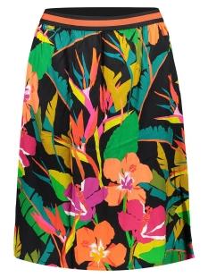 skirt multi flowers and elastic waist 06117 20 geisha rok black/coral combi