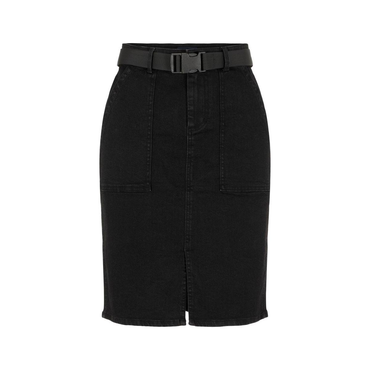 pcnala mw pencil buckle skirt bl639 17101519 pieces rok black denim