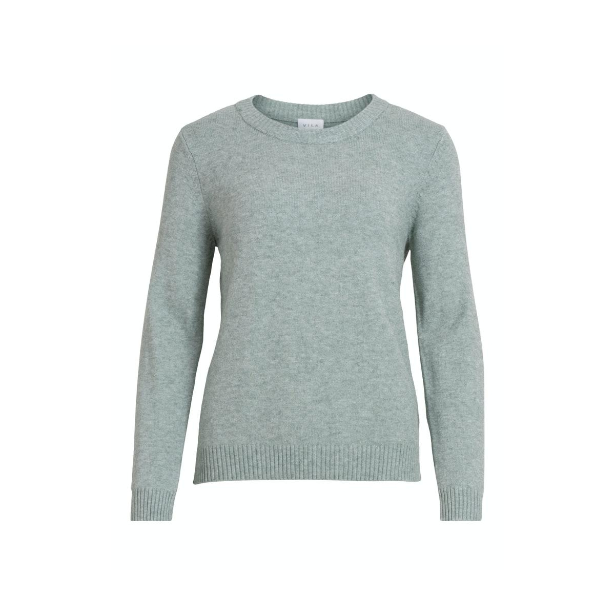viril o-neck l/s  knit top - noos 14054177 vila trui green milieu/melange