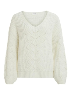 Vila Trui VISEE KNIT V-NECK L/S TOP 14058254 Whisper White