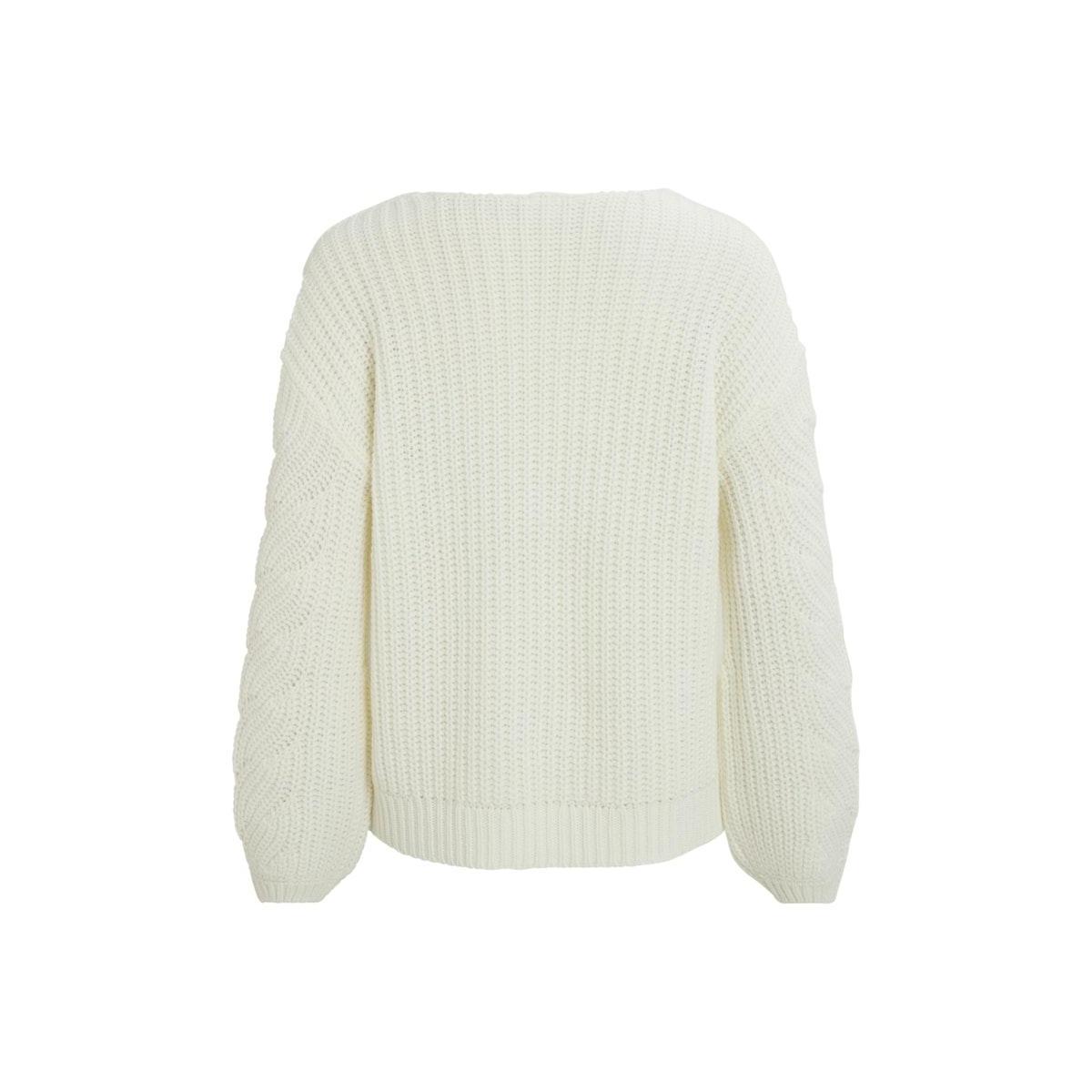 visee knit v-neck l/s top 14058254 vila trui whisper white