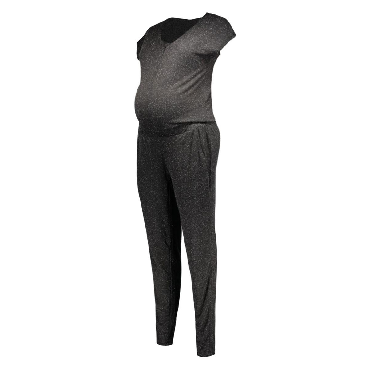 mlruby lia s/s jersey jumpsuit nf 20006805 mama-licious positie broek dark grey melange