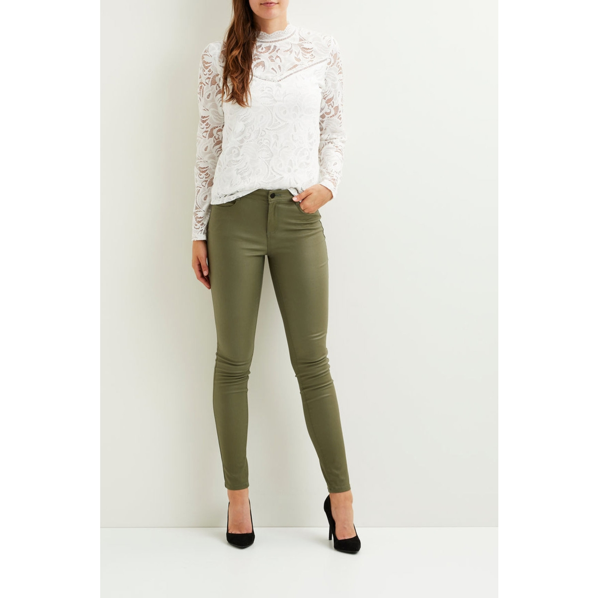 vicommit rw new coated-noos 14036194 vila broek ivy green