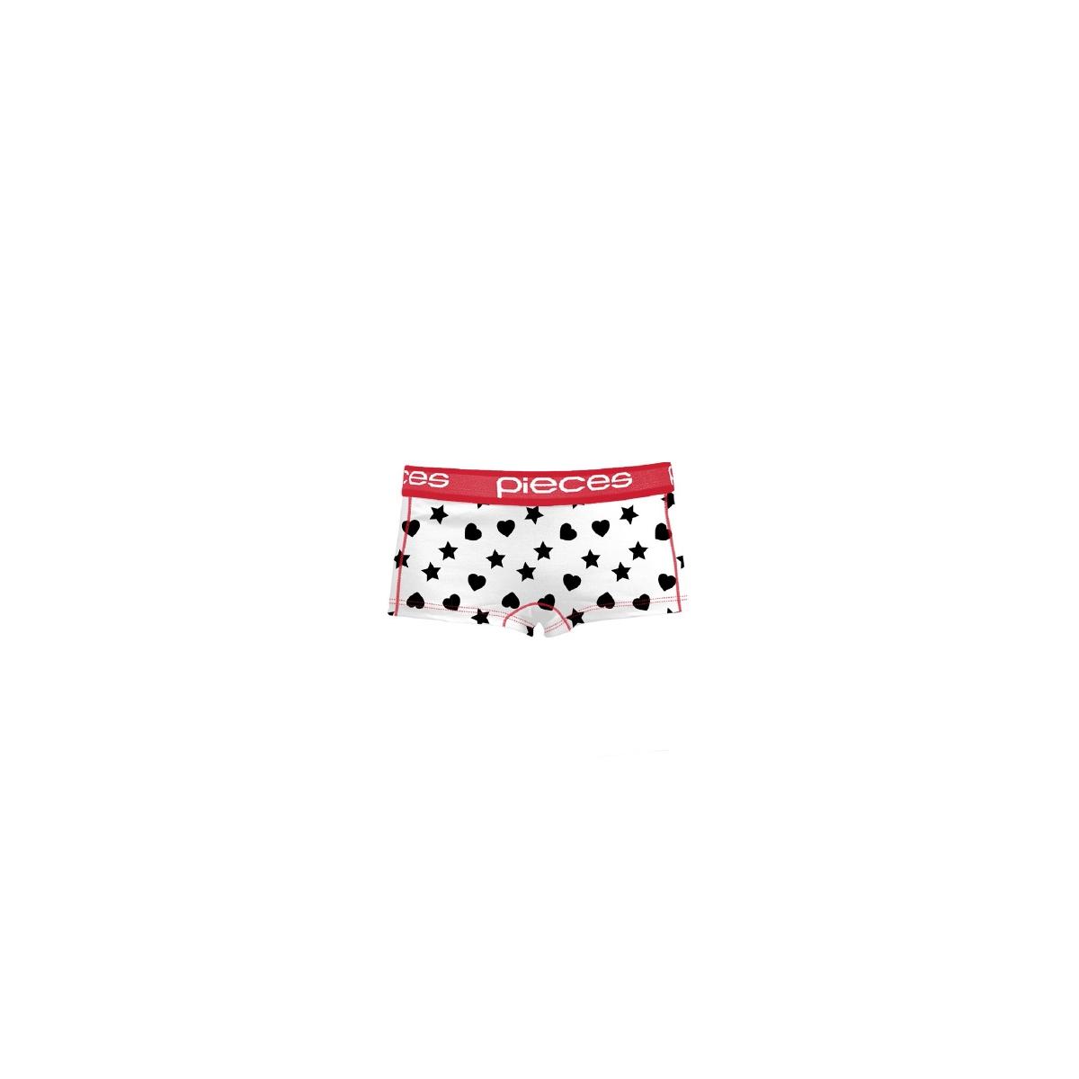 pclogo lady boxers 14-191 stripe 17080023 pieces ondergoed bright white