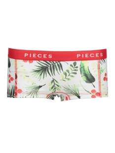 Pieces Ondergoed PCLOGO LADY BOXERS 14-214 LEAF 17083904 Bright White/ C