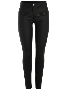 Pieces Broek PCSKIN BETTY COATED MW JEG 2ZIP BLK 17084293 Black