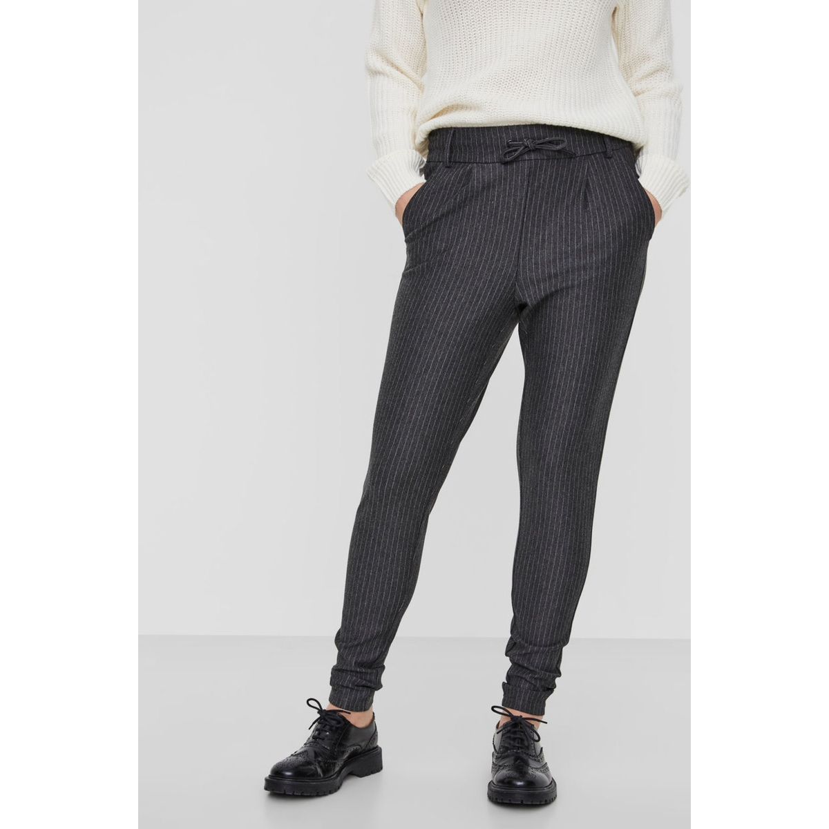 nmpower nw pinstripe  pants noos 27002788 noisy may broek dark grey melan/white