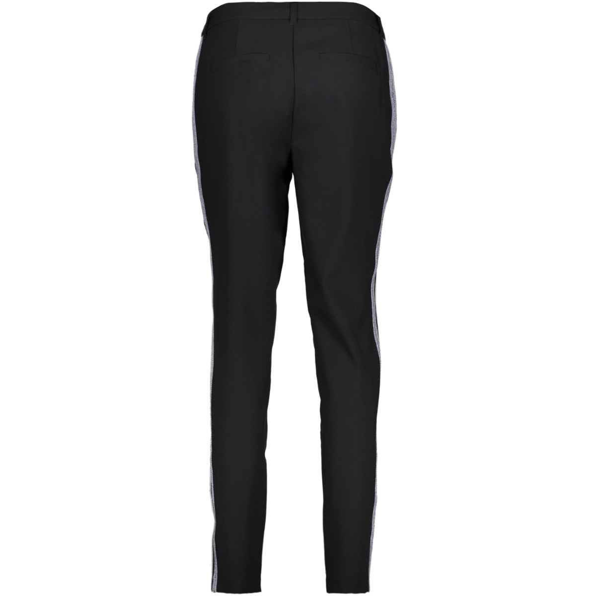 vmvictoria nw antifit shiny tape pants 10192149 vero moda broek black/silver and
